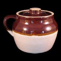 Small Bean Pot Single Handle Stoneware Crock Brown Cream USA