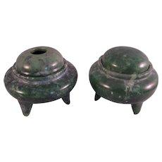 Vintage set of Tripod Jade Censer 1960's Chinese