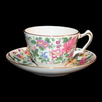 Thousand Flowers Teacup & Saucer Staffordshire England Bone china