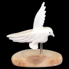 "Miniature carved Shell Seagull mounted on Flat stone 1"" tall"