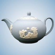 Wedgewood Blue Mini Miniature Teapot new in box - 1980