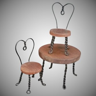 Miniature Wood Ice Cream Bistro Table and chairs