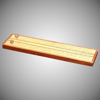 Miniature Dollhouse Cribbage Board signed 1982 Artist Made