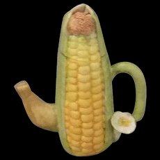 Miniature Porcelain Whimsical Corn Husk Cob Teapot artist made