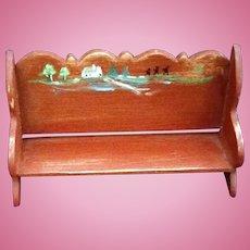 Miniature Primitive Red American folk Art High back School Bench