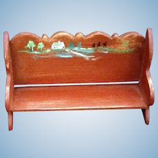 Miniature Primitive Red American folk Art High back School Bench