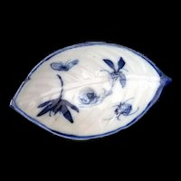 Vintage Asian Blue Snail and Bugs on a Porcelain leaf dish tea bag