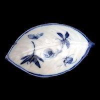 Vintage Asian Blue Snail and Bugs on a Porcelain leaf dish tea bag