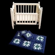 Miniature Doll Crib with quilt and pillows  c1950