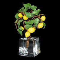 "Miniature  Lemon Tree Vintage Glass 4"" tall"
