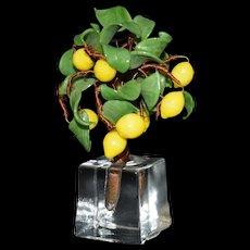 """Miniature  Lemon Tree Vintage Glass 4"""" tall"""