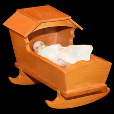Doll Miniature jointed Baby in night gown and Cradle Vintage
