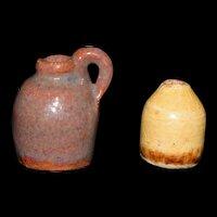 Miniature Jug and Bottle Pottery Vintage marked EKP