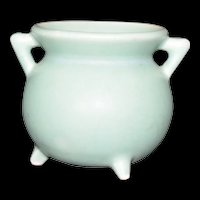 Miniature Pottery Cauldron Vintage marked 635 Mint Green