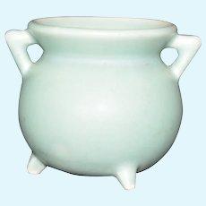 Miniature Pottery Cauldron Vintage marked 635 Mint Green