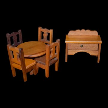 Miniature Doll Wood Table Set and Buffet Vintage Rustic