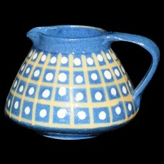 Miniature Blue and dots pottery Pitcher handmade in France Vintage