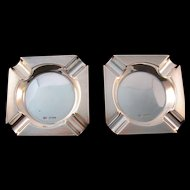 2 Sterling Silver Ashtrays by Emile Viner Sheffield England 1951-1952