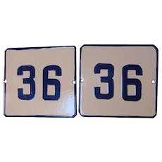 Set of 2 Vintage European Enamel Porcelain Heavy Tin Address Gate Sign Plate # 36 - Cobalt Blue and White
