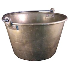 Hammered Brass Bucket Pail with Iron Handle and Copper Rivets - 1 Gallon