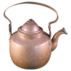 Hammered Solid Copper Teapot Kettle gooseneck spout w lid marked DB - 1800's Vintage European