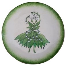 Vintage Whimsical Green Lily Fairy of the Valley Enamel on Copper Dish Signed PR  c1970's