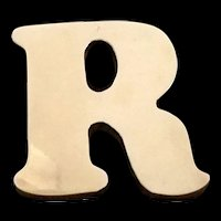 Vintage Solid Brass R San Serif Paperweight – 1960's