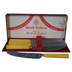 Sheffield Cutlery Butterscotch Yellow Bakelite Steak Knives set of 6