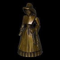 Rare Bronze Lady Nun hand bell beautiful detail