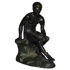 Bronze Sculpture of a young Hermes Seated Italian