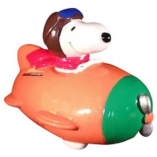 Peanuts Snoopy Flying Ace Bank 1966  United Features Syndicate Handmade