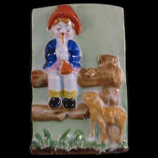 Boy and his dog playing the Flute - Porcelain Wall pocket made in occupied Japan 1947-1952