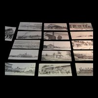 16 Railroad Post cards 1960's of Wolfboro, NH done by the Historical Association