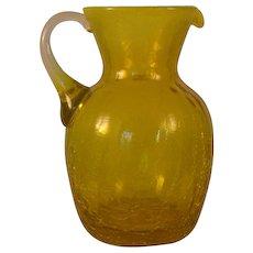 """Vintage Yellow Crackle Pilgrim Glass Pitcher w Opalescent Rim 5 1/2"""" attached Handle cut Pontil"""