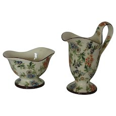 Early 1900's Czecho Slovakia Erphila Art Pottery Cream Sugar Bowl Chintz