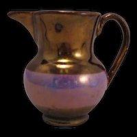 Copper Lustre ware Purple Band Mini Creamer mid 1800's - Red Earthware England