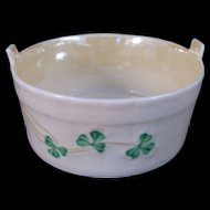 Belleek Shamrock Open Butter Tub Yellow Luster Interior - 6th Mark