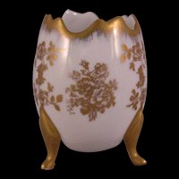 Limoges France Hand painted Porcelain Footed Open Egg  White Gold - Signed