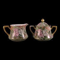 German Bavaria Cream and Sugar Bowl Porcelain Hand painted - Green, pink, white with gold gilt - Signed E. H. Havens 1914