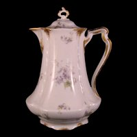 "Haviland & Co. Limoges Violets and Gold 9"" Water Pitcher - 1889-1896"