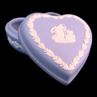 Wedgwood Blue White Porcelain Heart trinket box England late 20th century