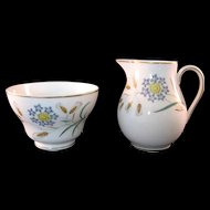Wedgewood Bone China Wheatear W4051 Sugar Bowl and Creamer Mid 20th Century