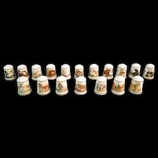 WWF Baby Animals Bone China Thimble Collection of 18 – marked 1981
