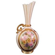 CAC Lenox American Belleek Bulbous Vase hand painted Rose Bouquet 1889-1906 - Red Tag Sale Item