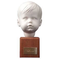 Vintage Boy Bust Ehren Parian mounted on wood - Mid Century Modern