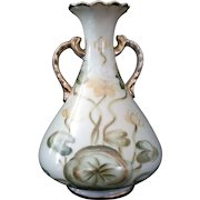 Bulbous vase hand painted lily pads and gold accents – TN Hand painted Japan c1940