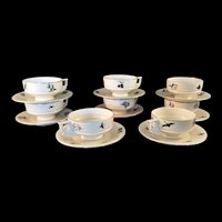 8 Black Silhouette Birds and Flowers Demitasse Cups and Sauces by Royal Epiag Czechoslovakia c1948 MCM