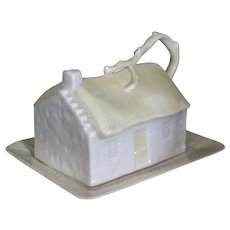 Belleek Butter dish cottage with yellow luster green 6th Mark