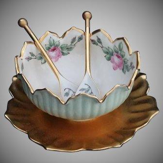 Vintage Gold, Green & Rose Porcelain salad bowl set hand painted signed JMS 1930's
