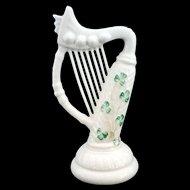 Irish Belleek Parian China Shamrock Harp